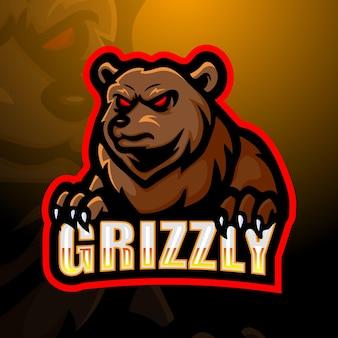 Bear mascotte esport logo illustrazione