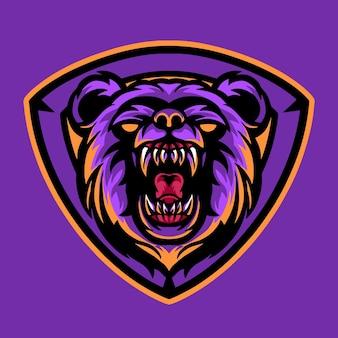 Logo di esports mascotte dell'orso