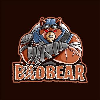 Logo della mascotte dell'orso per esport e sport