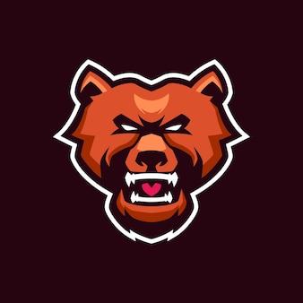 Modelli di logo della mascotte dell'orso