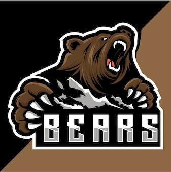 Logo esport orso e montagna