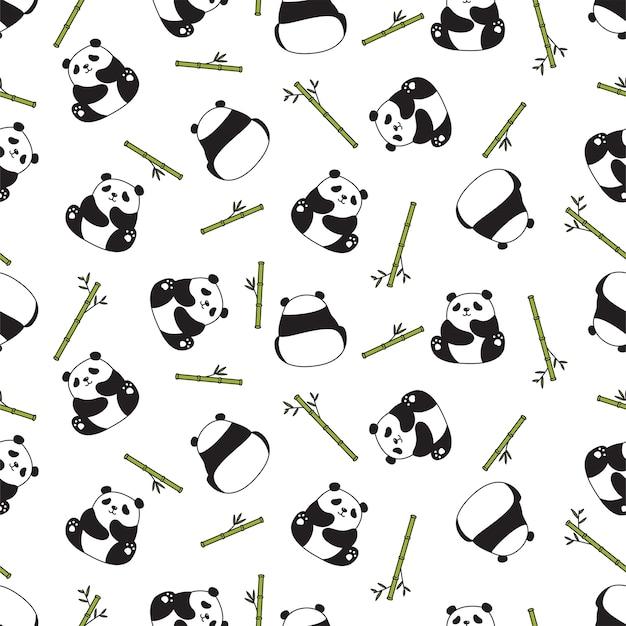 Orso panda seamless pattern di bambù