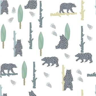 Orso modello con punti. stile nordico. sfondo animale moderno