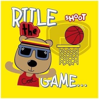Orso che gioca a basket animale divertente cartone animato