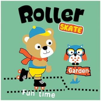 Orso giocando a pattini a rotelle divertente cartone animato animale, illustrazione vettoriale