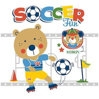 Orso che gioca a calcio divertente cartone animato animale