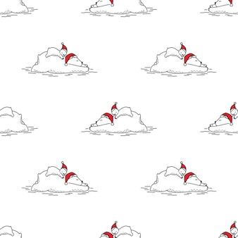 Orso polare seamless pattern cappello di babbo natale di natale che dorme