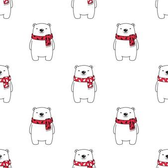 Orso polare modello senza cuciture sciarpa di natale