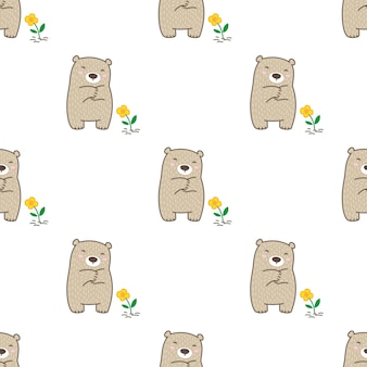 Orso polare seamless pattern fiore teddy cartoon