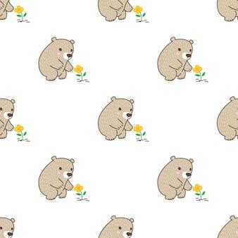 Orso polare fiore seamless pattern