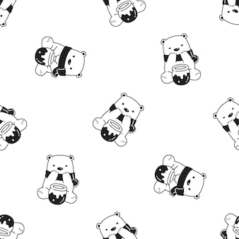 Orso polare seamless pattern miele cartoon illustrazione