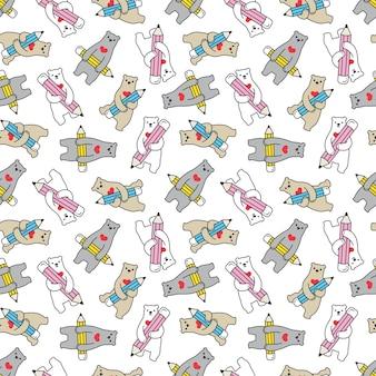 Orso polare seamless pattern matita orsacchiotto