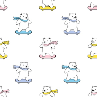 Orso polare seamless pattern skateboard teddy