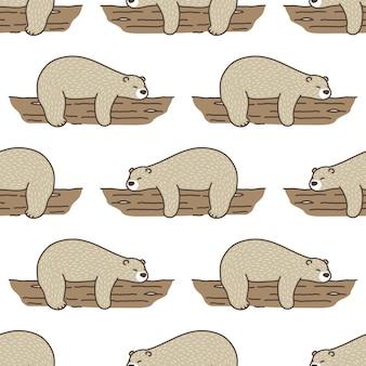 Orso polare seamless pattern dormire registro