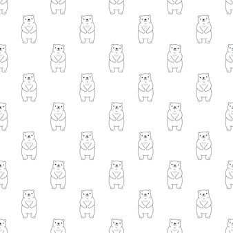 Orso polare seamless pattern teddy cartoon illustrazione