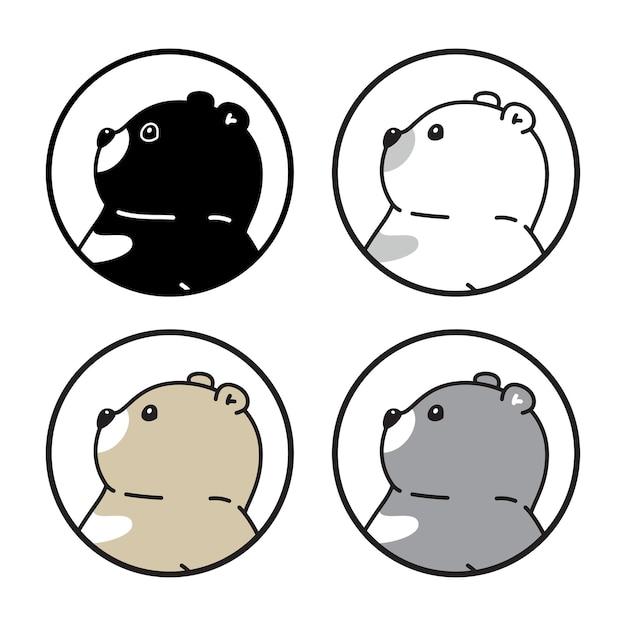 Orso polare teddy cartoon pet illustrazione di carattere doodle