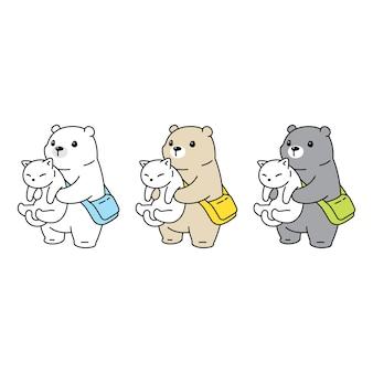 Orso polare con personaggio di gatto cartoon