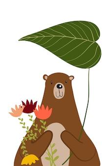 Bear polar con flower doodle illustration