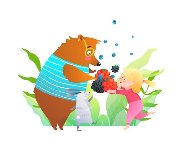 Orso coniglio e bambina che mangiano frutti di bosco nella foresta, cartone animato per bambini.