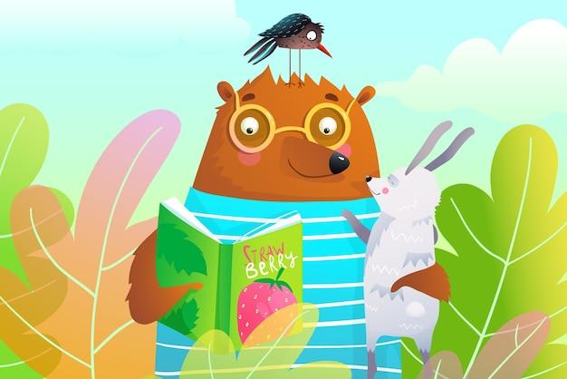 Orso che legge il libro al coniglio e al corvo nell'illustrazione delle foglie della foresta per i bambini.