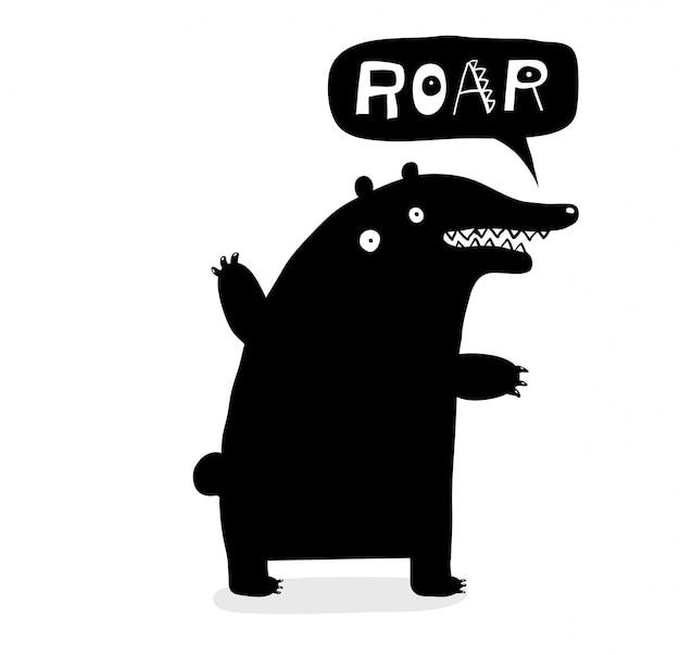 Ruggito dell'orso che segna doodle con lettere nero