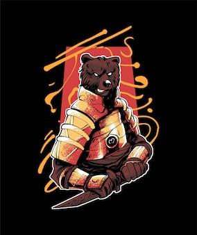Illustrazione dell'orso ronin samurai, in stile cartone animato moderno, perfetta per t-shirt o prodotti stampati vettore premium
