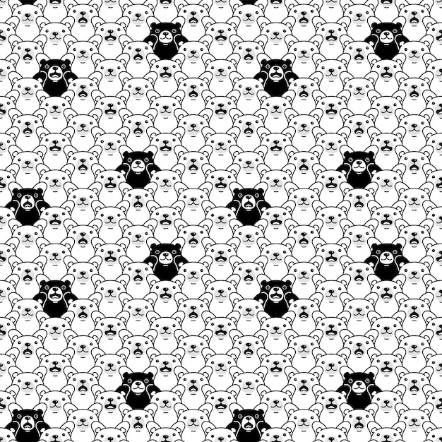 Orso seamless pattern polare orsacchiotto cartoon pet carattere illustrazione doodle