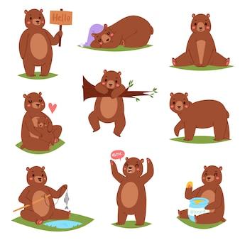 Orso set personaggio dei cartoni animati e carino marrone grizzly mangiare miele illustrazione set animalesco di teddybear infantile giocando o abbracciando con lei-orso su sfondo bianco