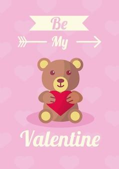 Orsacchiotto con cuore ama il giorno di san valentino con scritte