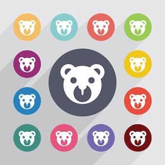 Orso cerchio giocattolo, set di icone piatte. bottoni colorati rotondi. vettore