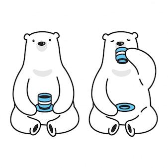 Sopporti il tè del caffè del fumetto dell'orso polare di vettore