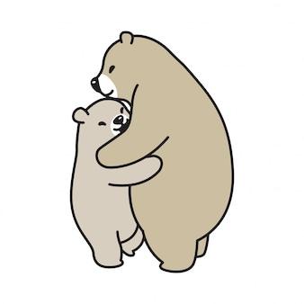 Abbraccio del fumetto dell'orso polare dell'orso di vettore
