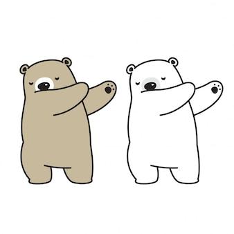 Sopporti il personaggio dei cartoni animati di dancing della dab di vettore dell'orso polare dell'orso