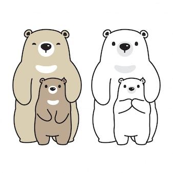 Orso personaggio dei cartoni animati famiglia orso polare vettoriale