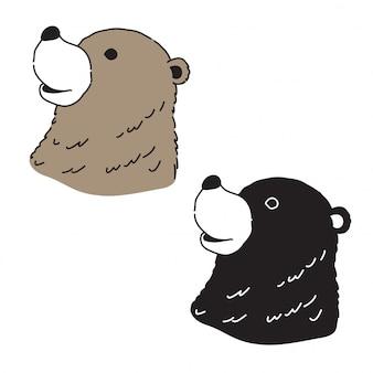 Sopporti il fumetto del carattere della testa dell'orso polare di vettore