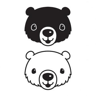 Orso cartone animato di testa di icona orso polare vettoriale
