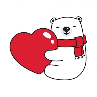 Fumetto dell'orso del cuore del biglietto di s. valentino dell'orso polare di vettore dell'orso