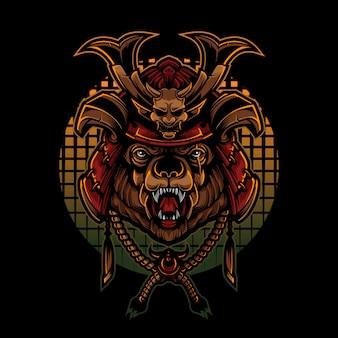 Orso stile logo vintage con casco samurai giapponese