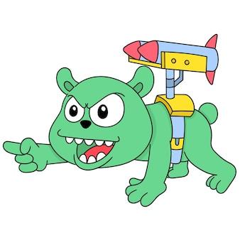 L'orso con la faccia arrabbiata ha un missile sulla schiena pronto ad attaccare, un simpatico personaggio disegnato a mano. illustrazione vettoriale