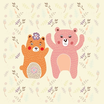 Bear with flower doodle vector.