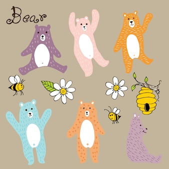 Bear with flower doodle vector. Vettore Premium