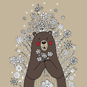 Bear with flower doodle vector Vettore Premium
