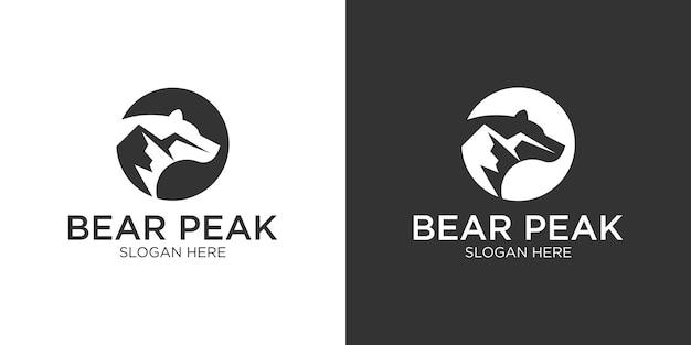 Orso con modello di progettazione del logo di montagna