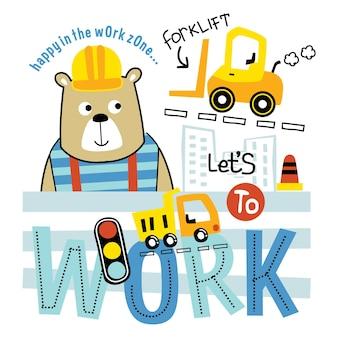 Orso nella zona di lavoro divertente cartone animato animale