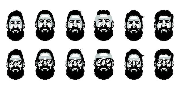 Modello di logo del barbiere di barba