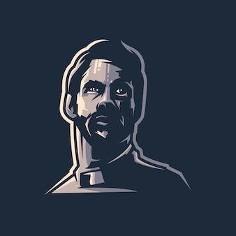 Disegno del logo della barba con vettore per l'editing