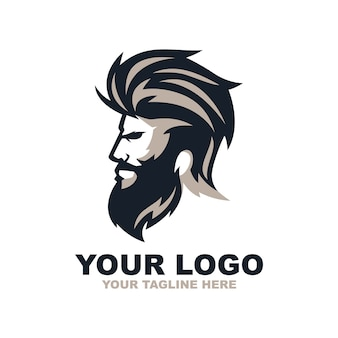 Beard man barber shop logo