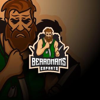Logo mascotte esport uomo barba