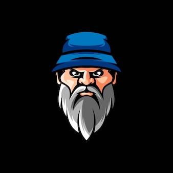 Disegno dell'illustrazione del cappello dell'uomo della barba