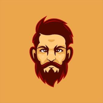 Illustrazione del modello di logo del fumetto della testa dell'uomo della barba. logo esport gioco vettore premium